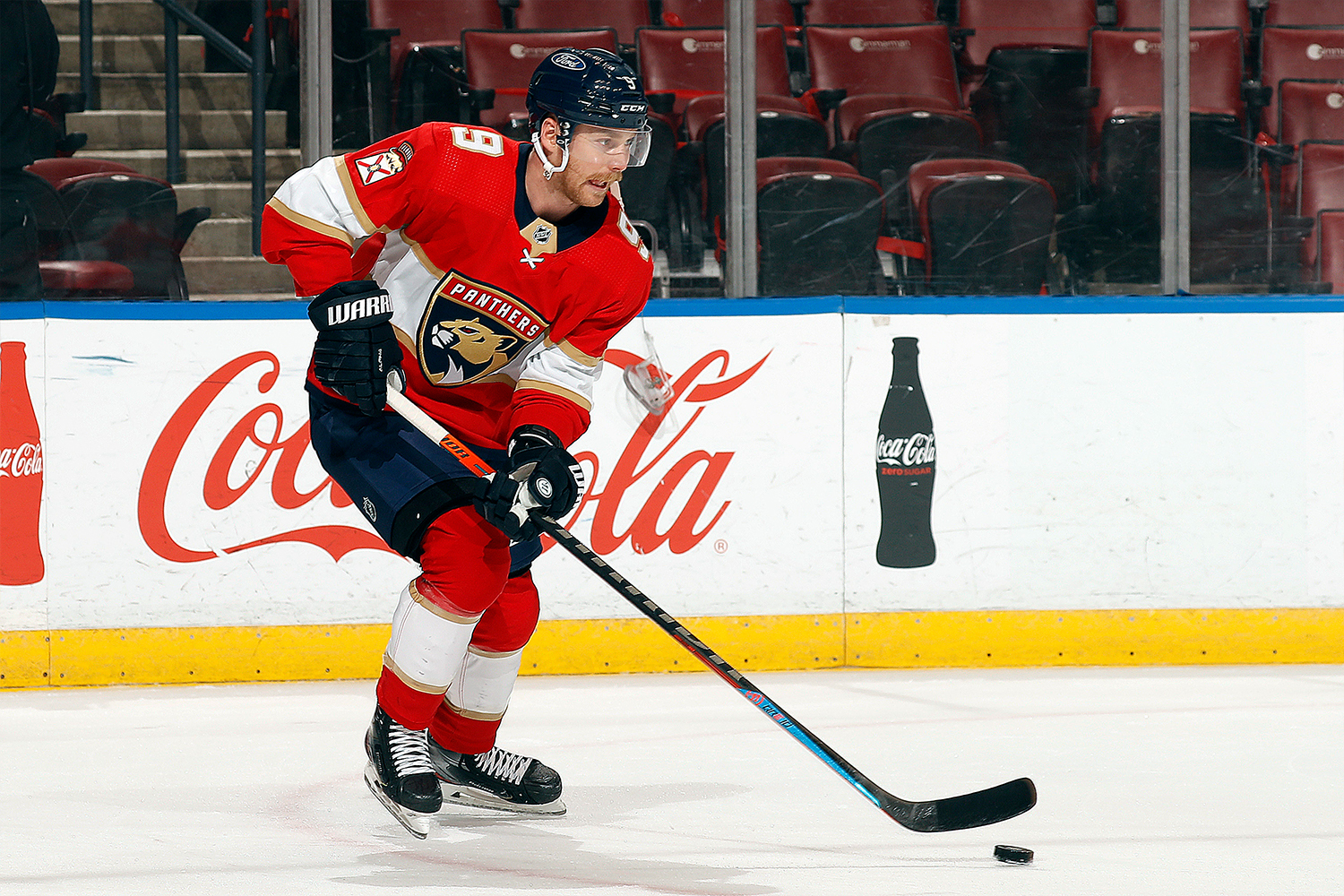 Sam Bennett #9 of the Florida Panthers warms up on the ice prior to the start of the game against the Carolina Hurricanes at the BB&T Center on April 22