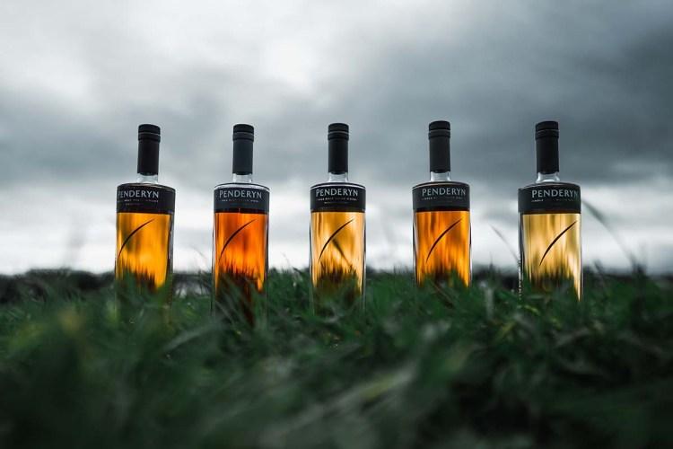 five bottles of Penderyn whisky, distilled in Wales
