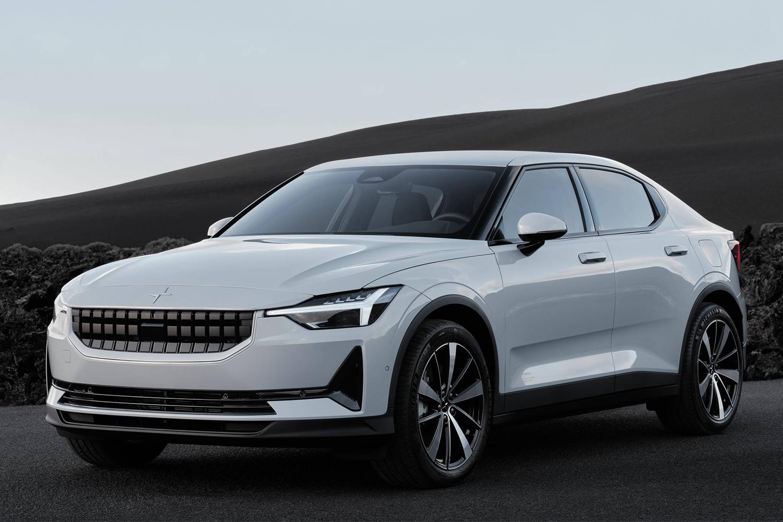 A white 2021 Polestar 2 electric vehicle