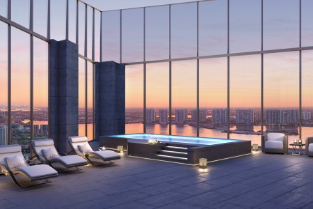 Rooftop pool in Penthouse 1 at Residences by Armani/Casa in Sunny Isles Beach, Florida