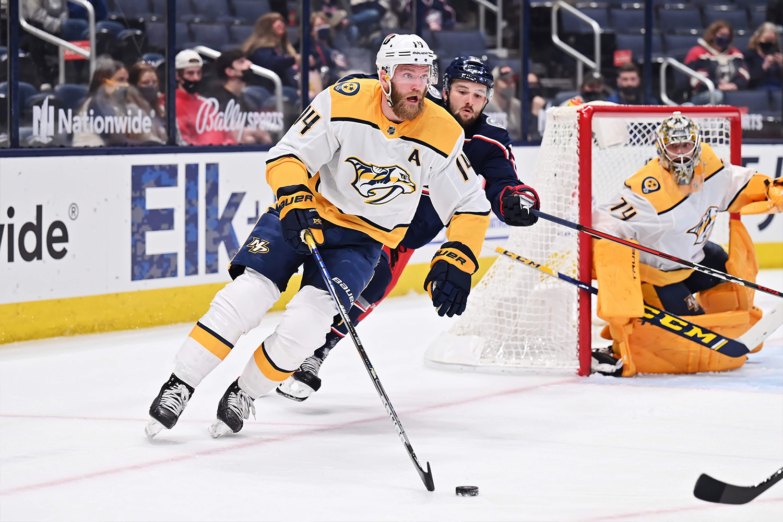 Mattias Ekholm #14 of the Nashville Predators skates against the Columbus Blue Jackets at Nationwide Arena on May 3, 2021