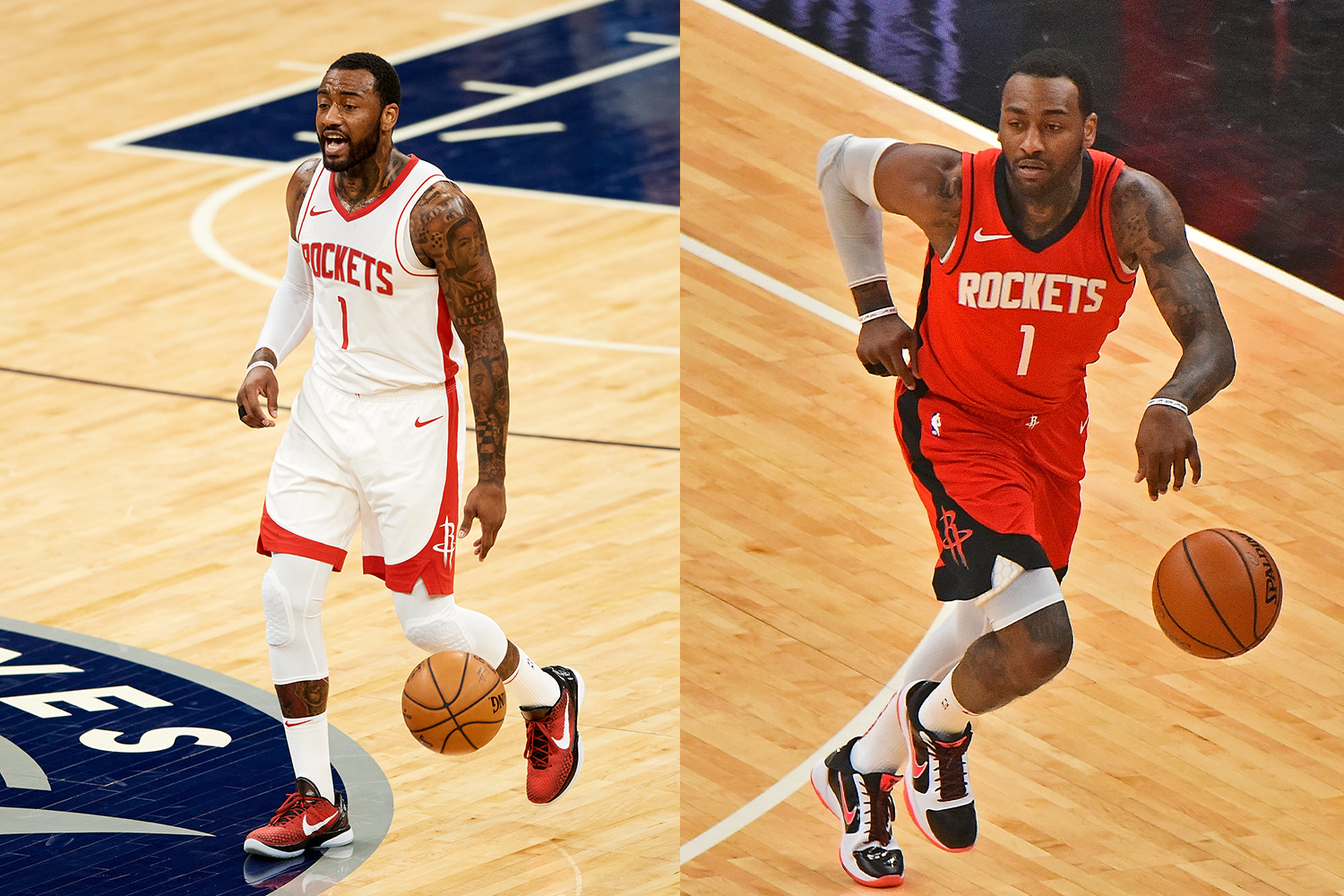 John Wall #1 of the Houston Rockets dribbles the ball against the Minnesota Timberwolves
