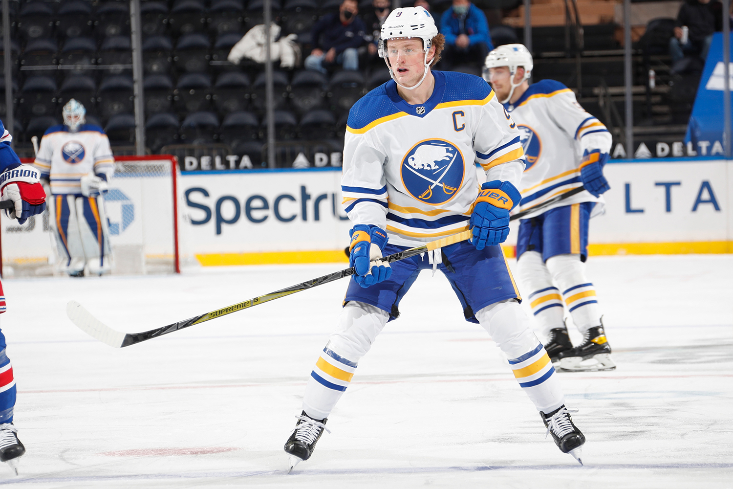 Jack Eichel #9 of the Buffalo Sabres skates against the New York Rangers at Madison Square Garden on March 2, 2021