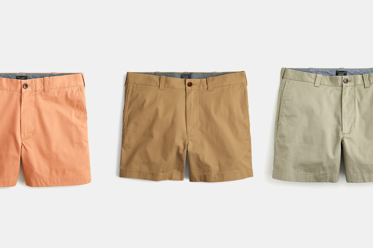 "J.Crew 5"" Chino Shorts in salmon, khaki and light green"