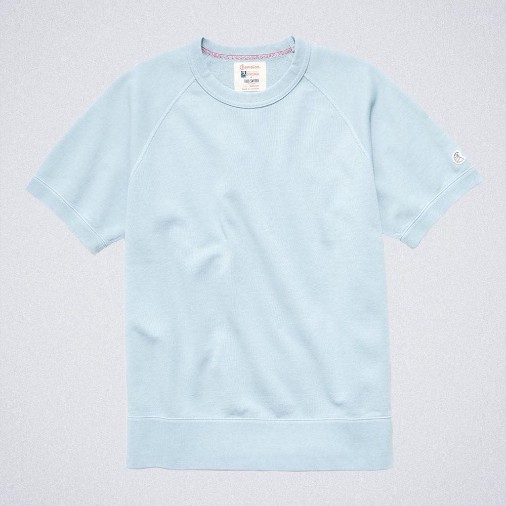 Todd Snyder Midweight Short Sleeve Sweatshirt in Powder Blue