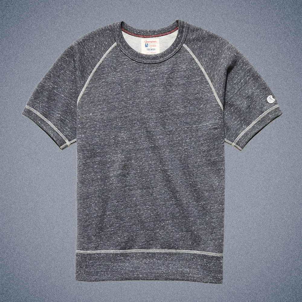 Todd Snyder Midweight Short Sleeve Sweatshirt in Charcoal Mix