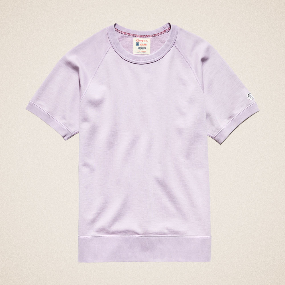 Todd Snyder Midweight Short Sleeve Sweatshirt in Pale Violet