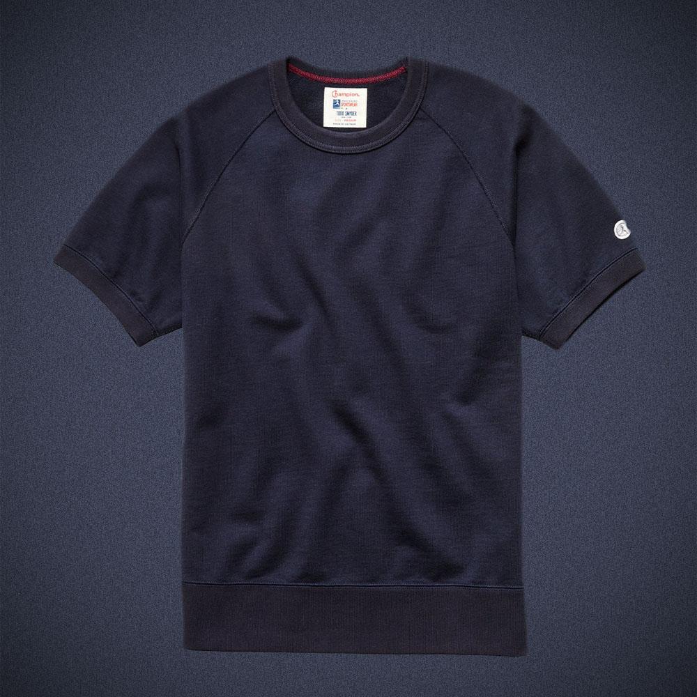Todd Snyder Midweight Short Sleeve Sweatshirt in Original Navy