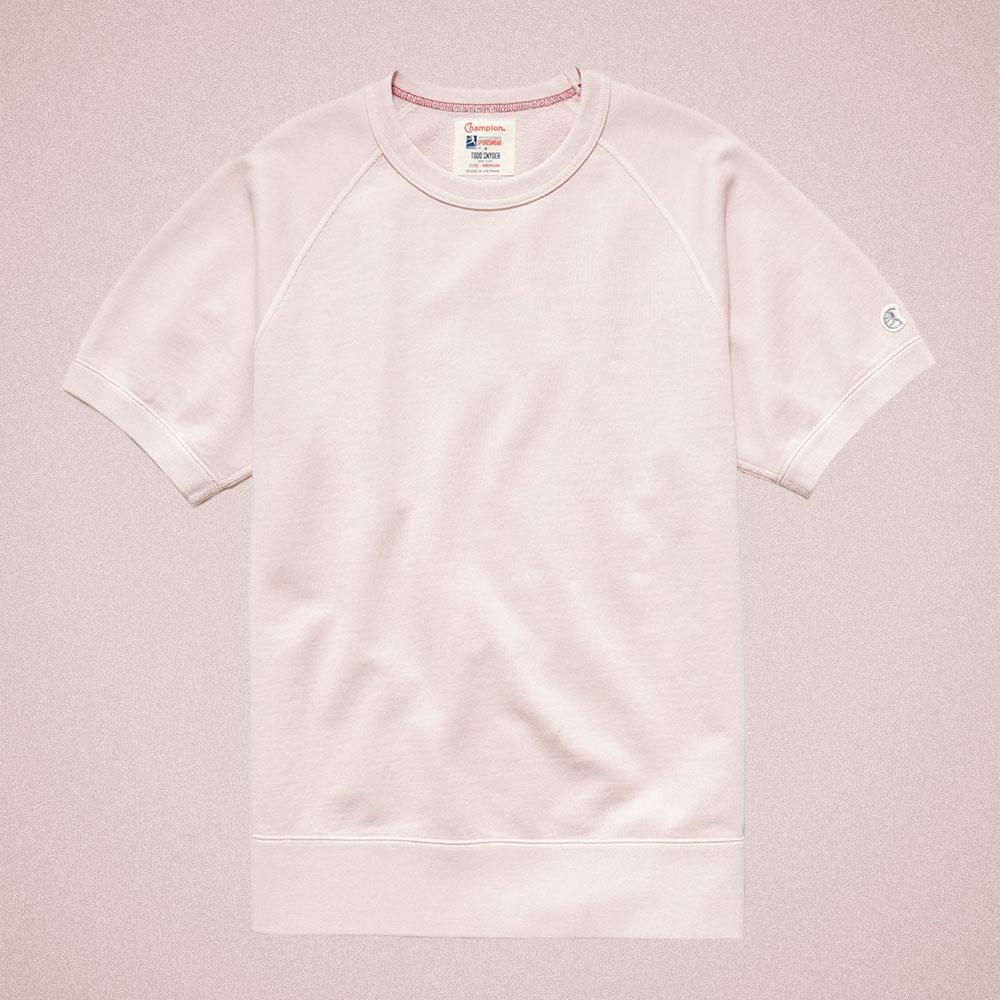 Todd Snyder Midweight Short Sleeve Sweatshirt in Pink Petal