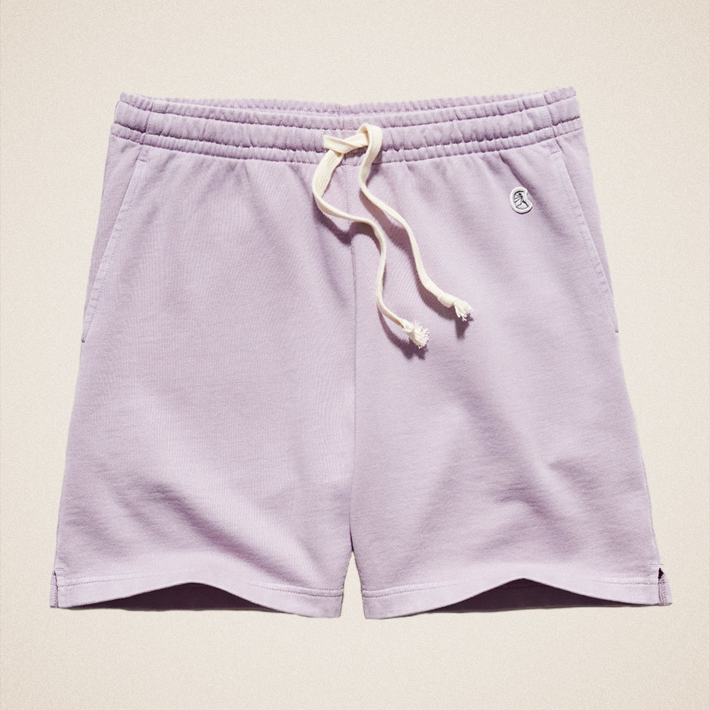 """Todd Snyder 7"""" Midweight Warmup Short in Pale Violet"""