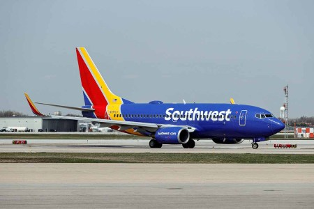 Southwest Airlines Boeing 737-7H4 jet taxis to the gate after landing at Midway International Airport in Chicago, Illinois, on April 6, 2021