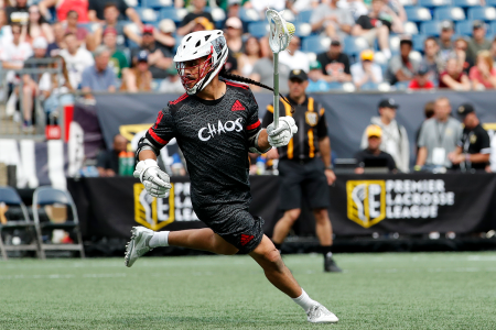 Lacrosse player Jeremy Thompson of the Onondaga Nation playing during a Premier Lacrosse League game