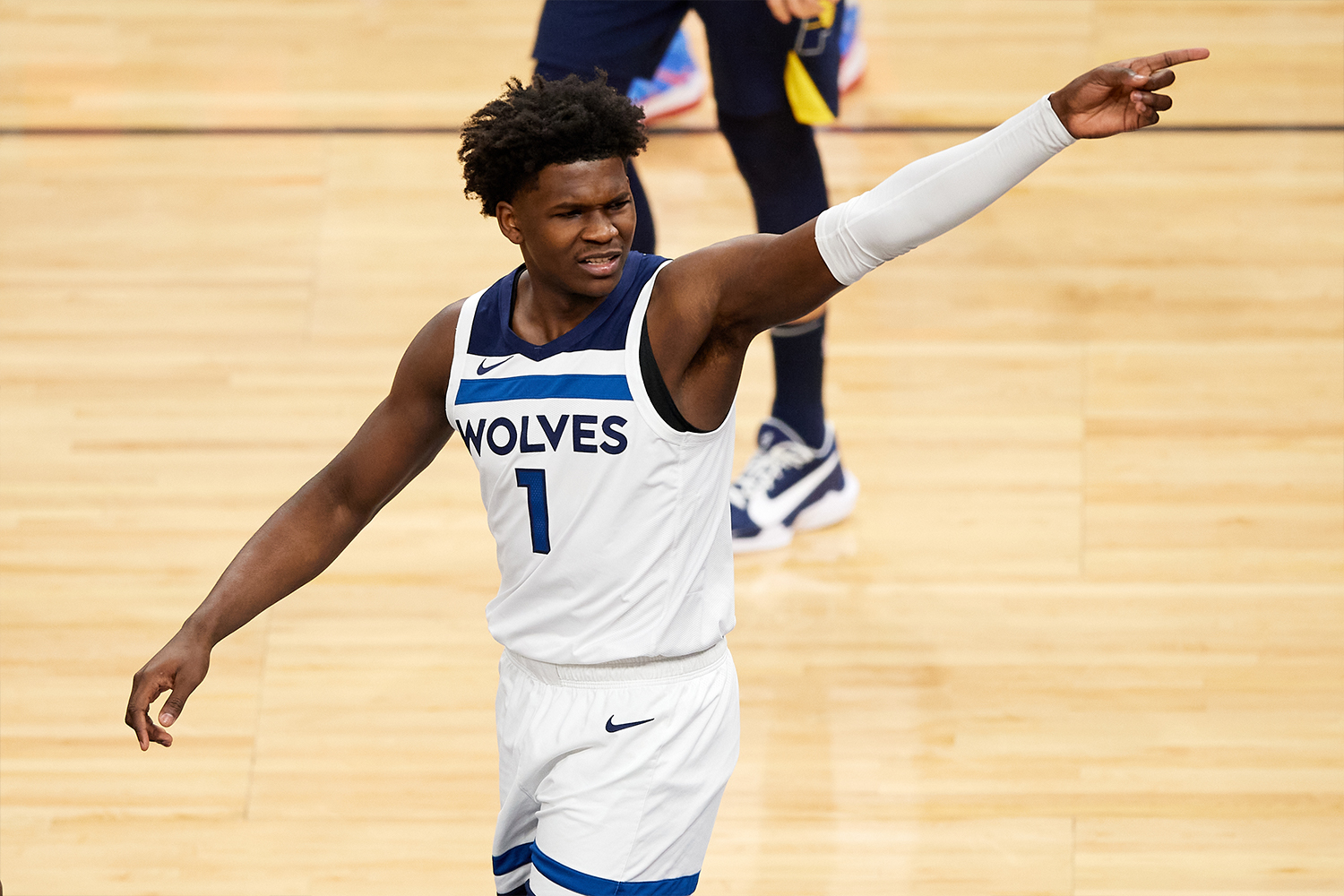 Anthony Edwards #1 of the Minnesota Timberwolves reacts to a call during the first quarter of the game against the Indiana Pacers