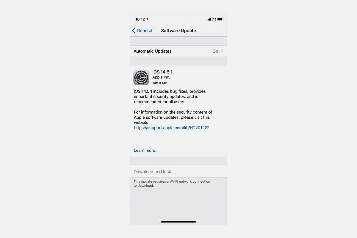 iOS 14.5.1 update screen