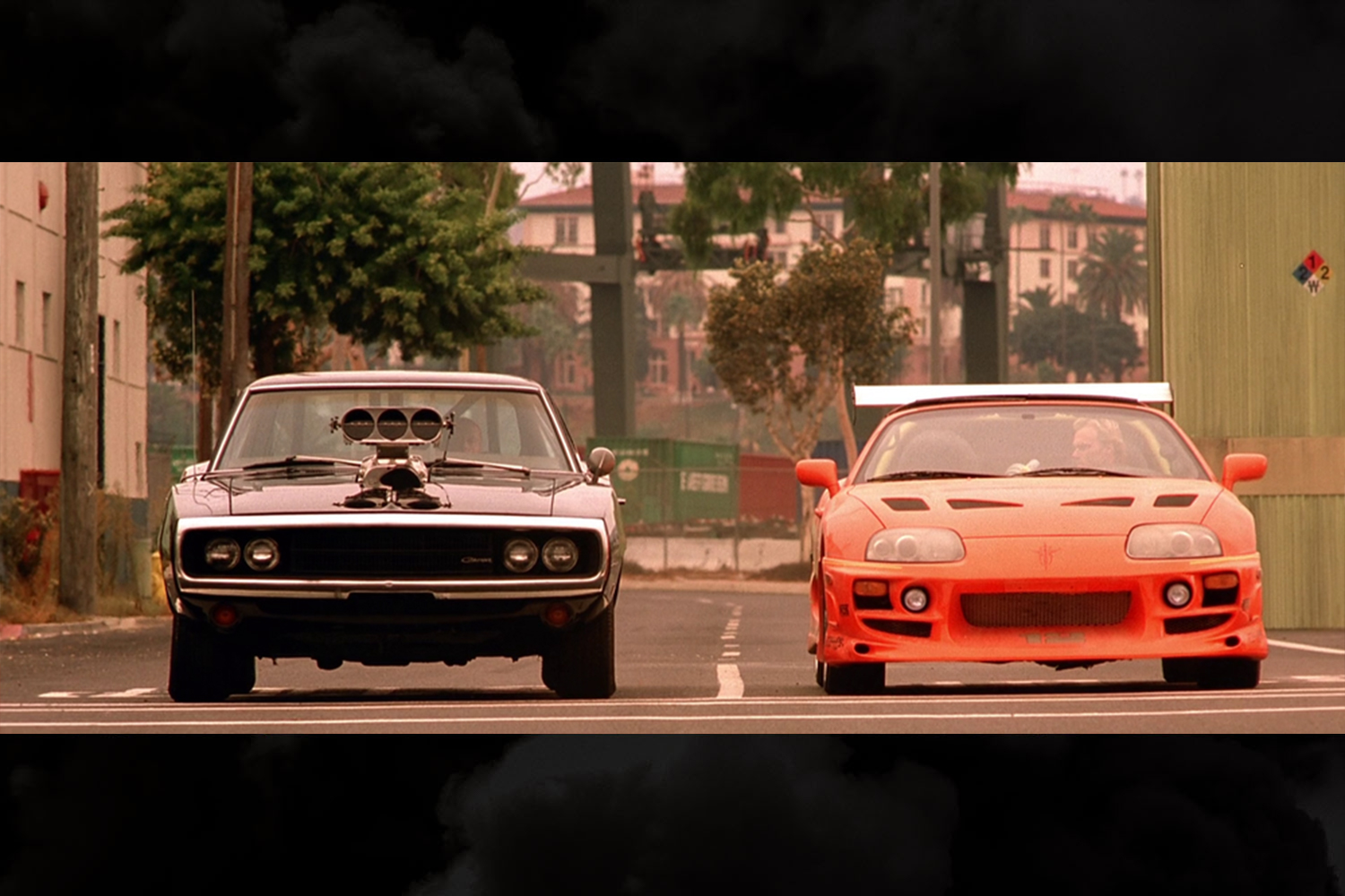 The final race in the original The Fast and the Furious, Dom's ridiculous 1970 Dodge Charger R/T versus Brian's 1994 Toyota Supra MK IV