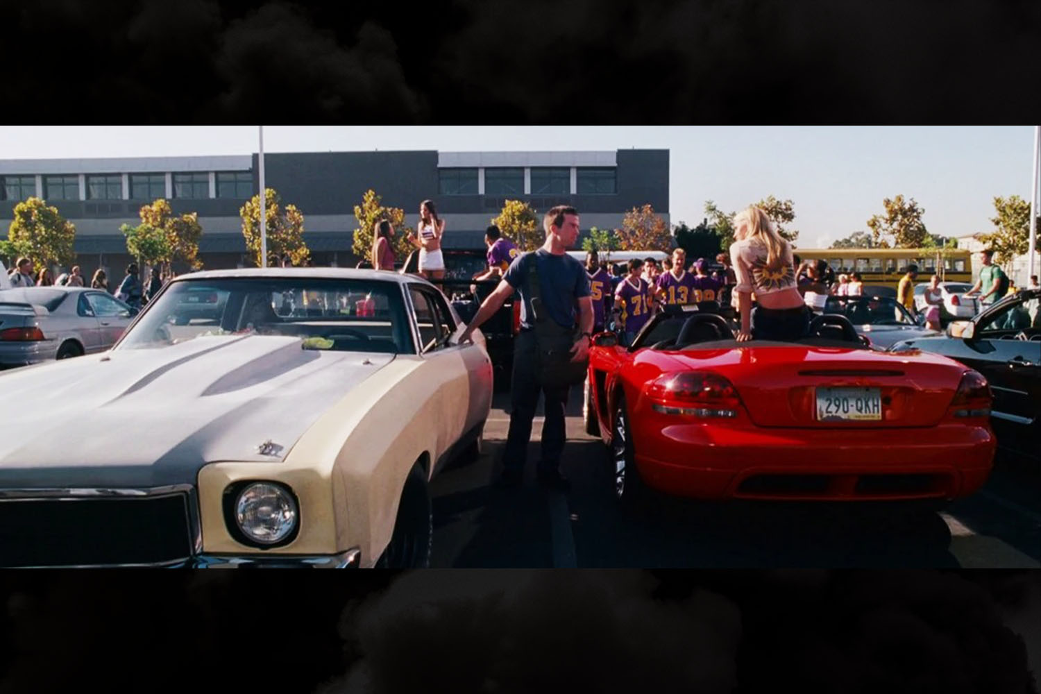 Sean Boswell's 1971 Chevrolet Monte Carlo sitting in the school parking lot during the opening scenes of The Fast and the Furious: Tokyo Drift