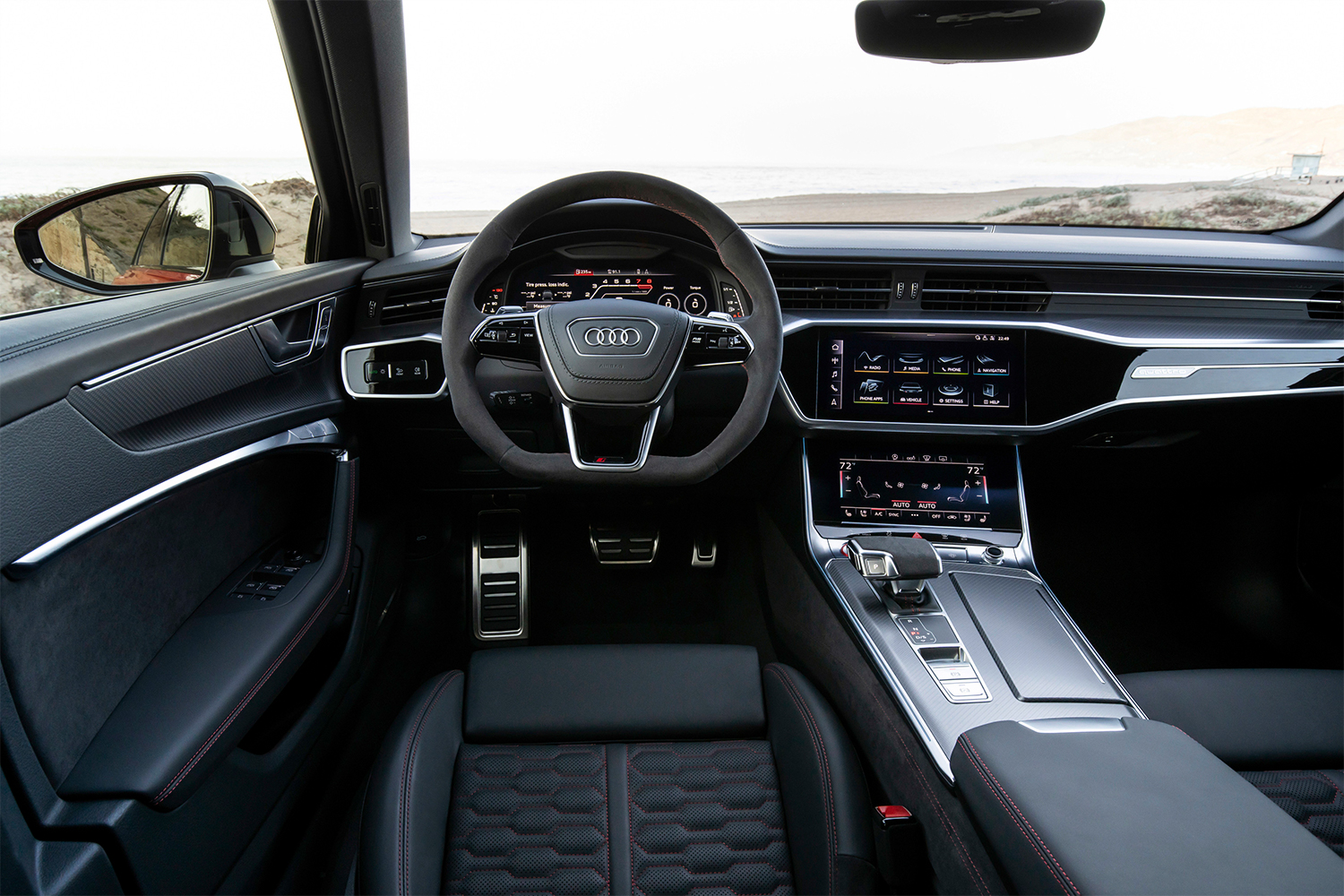The interior of the Audi RS 6 Avant wagon, a $110,000 luxury wagon. For that money, it's a supremely comfortable ride.