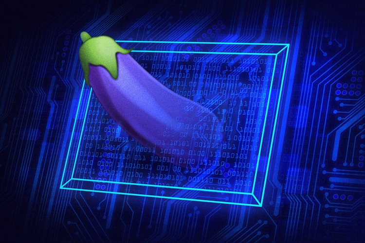 Eggplant emoji on blue background