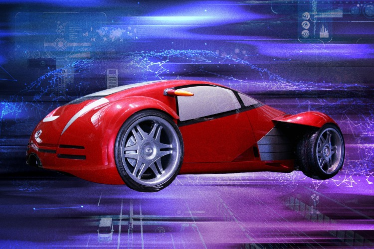 """The red Lexus 2054 electric vehicle from """"Minority Report"""" over a purple background"""