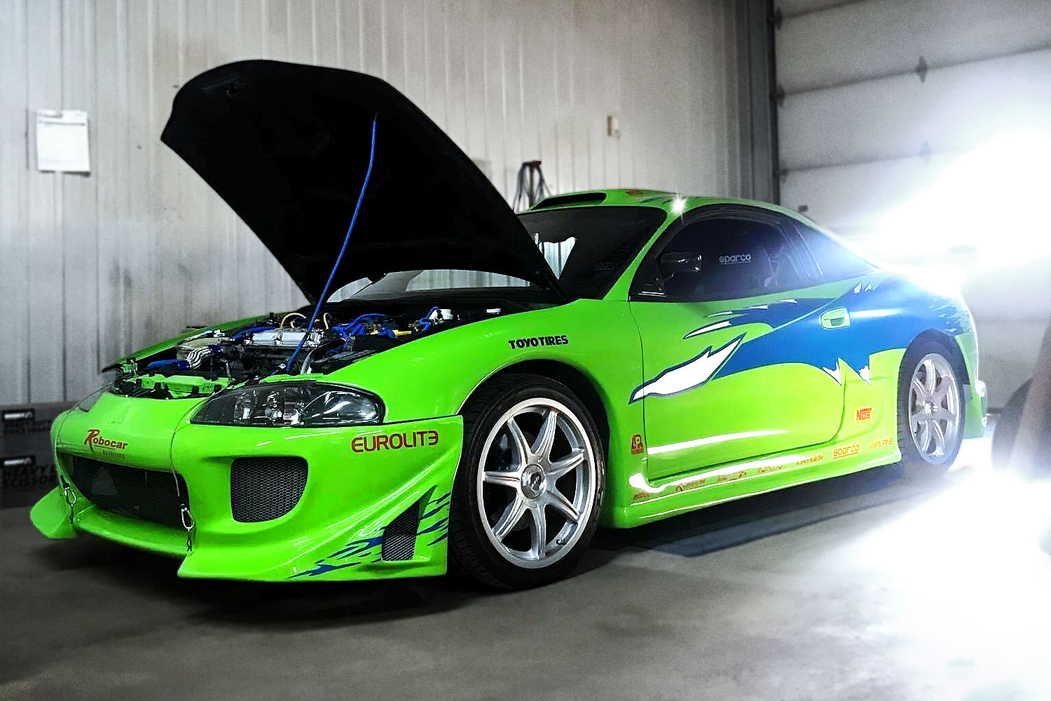 A replica of the green 1995 Mitsubishi Eclipse Paul Walker driver in the first Fast and Furious movie, this one built by Dominic Dubreuil