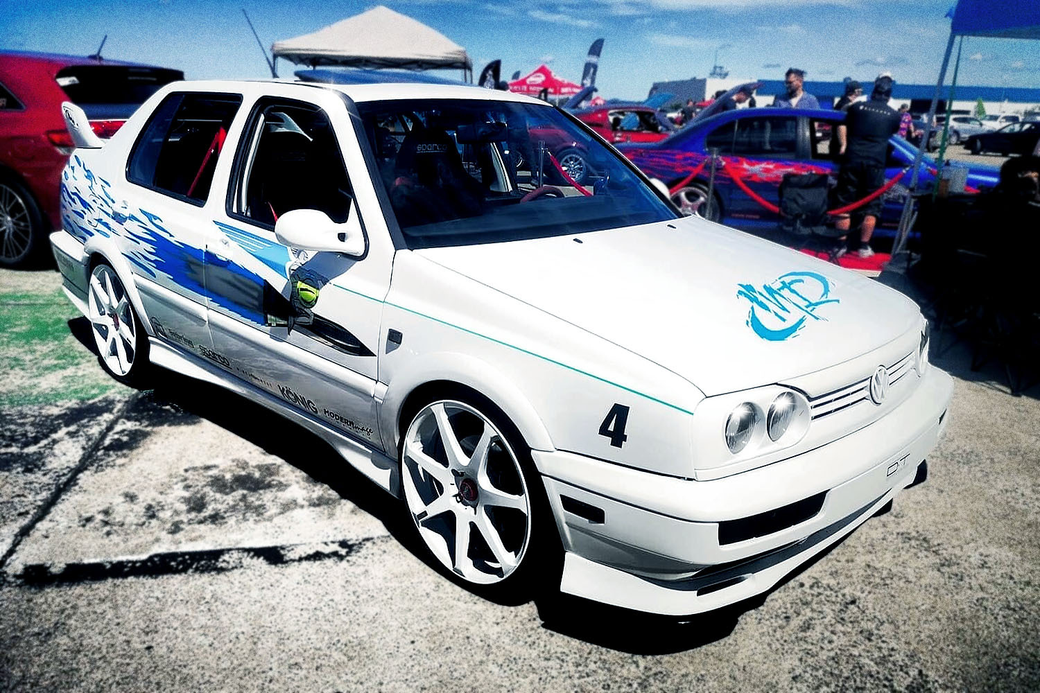 A replica of the white Volkswagen Jetta driven by Jesse (Chad Lindberg) in the first Fast and Furious movie, built by Dominic Dubreuil