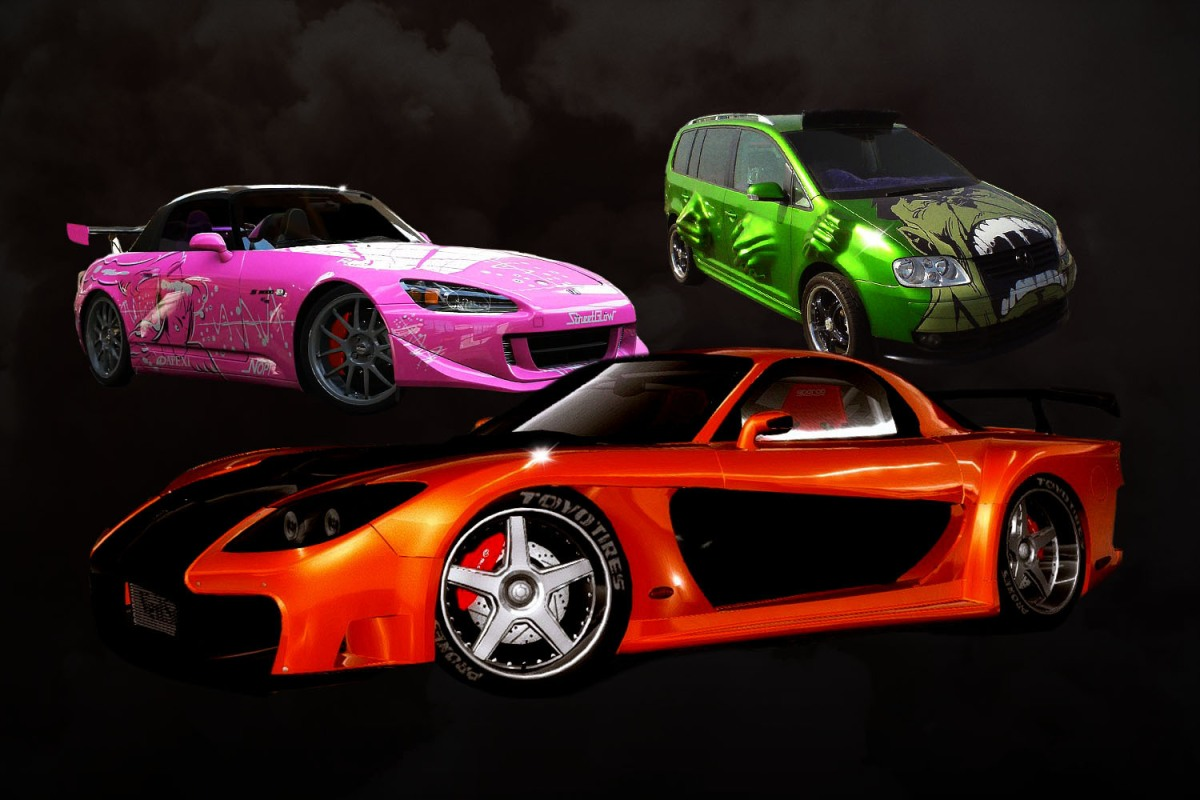 Han's car from The Fast and the Furious: Tokyo Drift, Suki's car from 2 Fast 2 Furious, and Twinkie's Hulk van from Tokyo Drift
