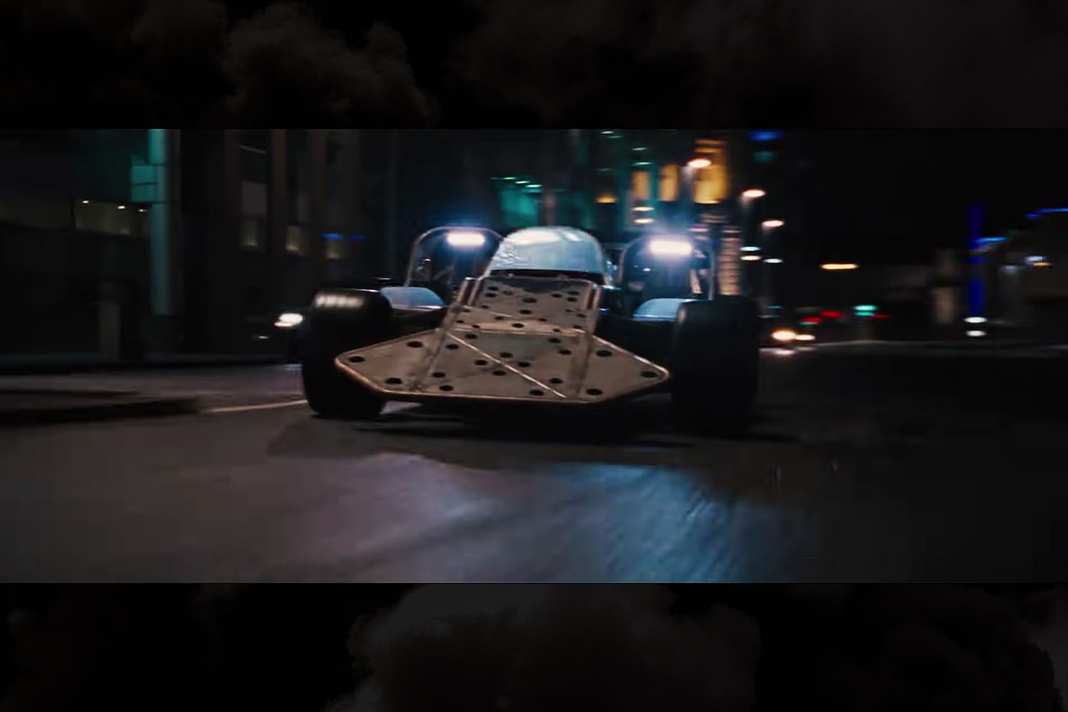The infamous Flip Car driven by Owen Shaw (Luke Evans) and Vegh (Clara Paget) in Fast & Furious 6
