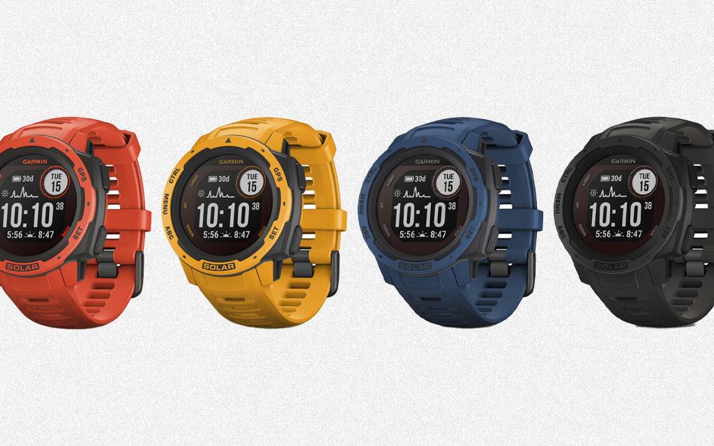 Garmin Instinct Solar outdoor watch in multiple colors