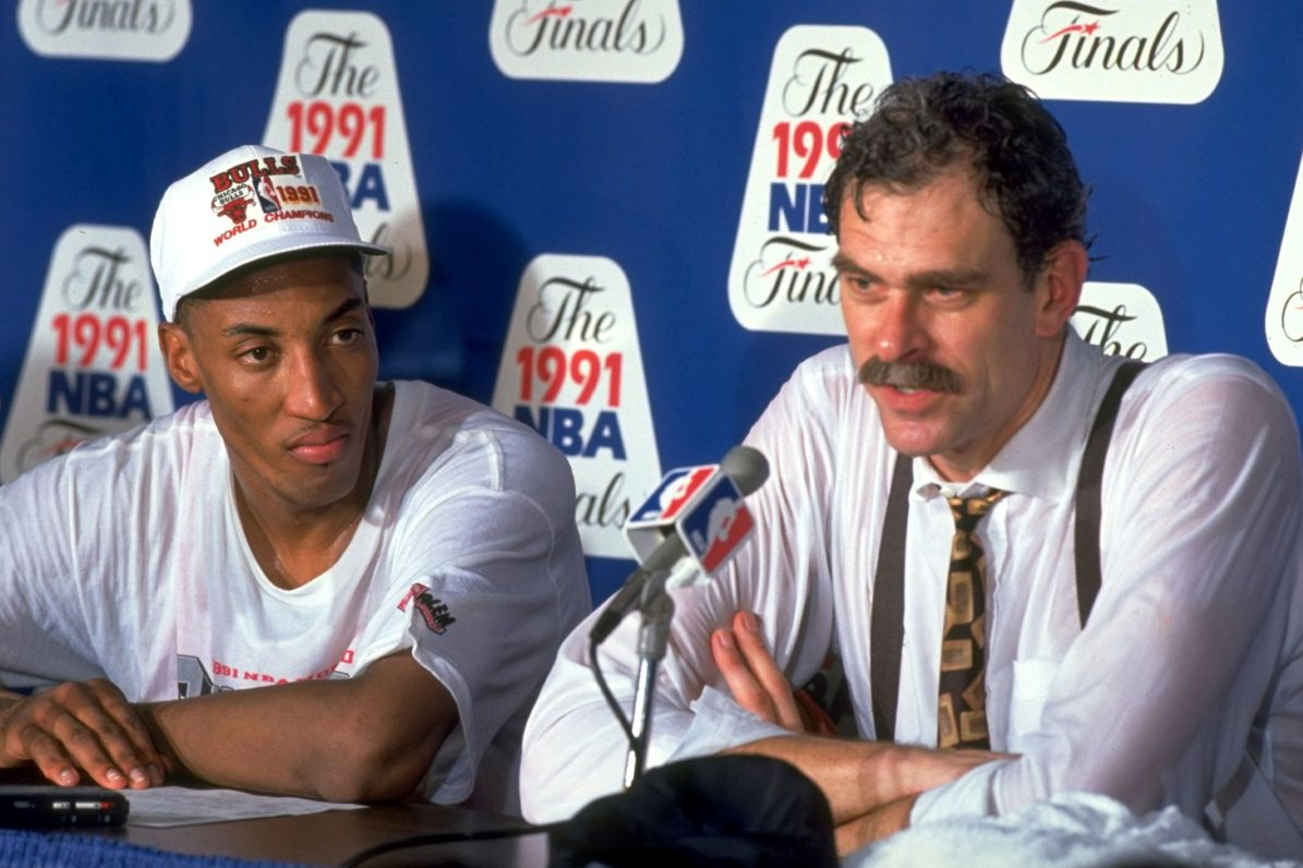 Chicago Bulls coach Phil Jackson with Scottie Pippen