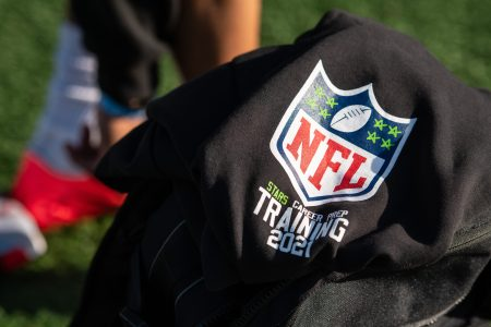 NFL logo on a piece of clothing on a football field