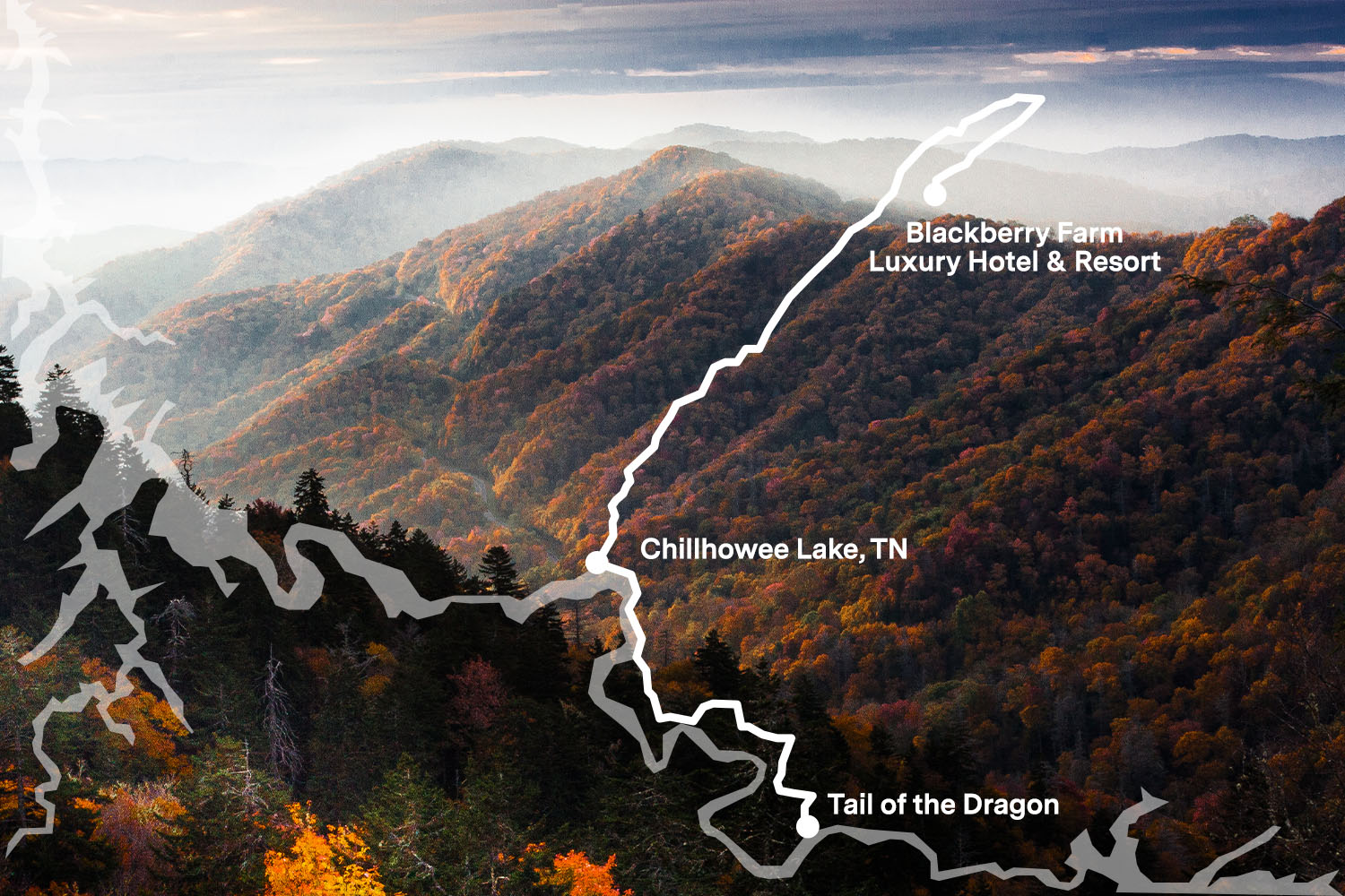 The Best Scenic Drive in Appalachia, US 129 in NC and TN, or The Tail of the Dragon, runs through Great Smoky Mountains National Park