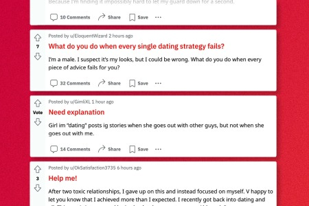 Image shows a series of cropped Reddit threads in which users request online dating advice