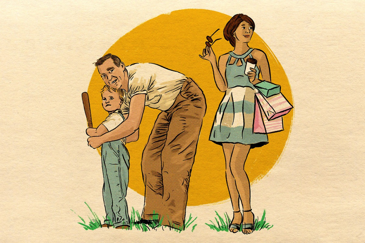illustration shows a father helping a young boy swing a baseball bat, while a young woman in a dress carrying shopping bags stands off to the side