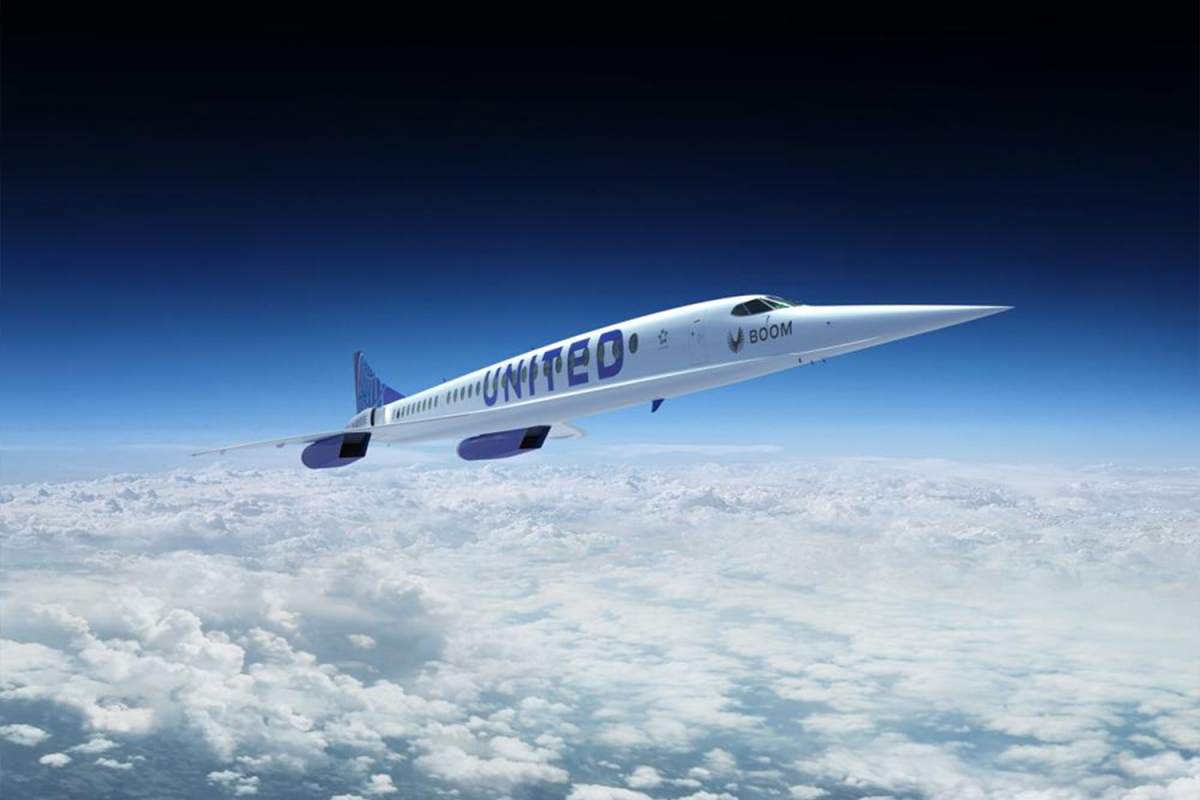 An artist's rendering of a United Airlines Boom Supersonic Overture jet