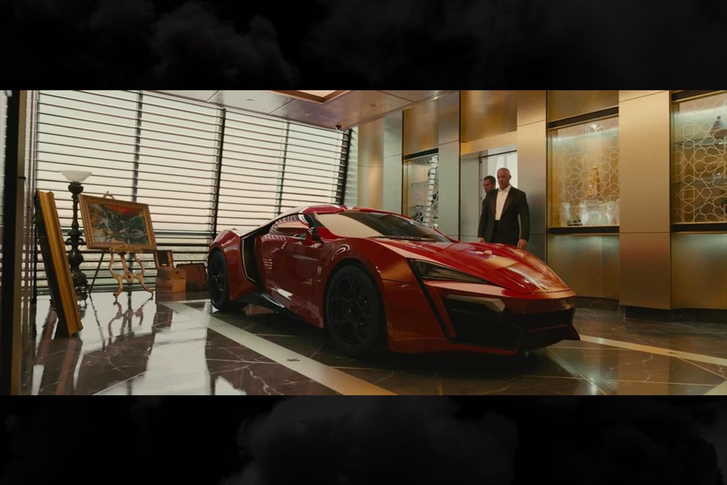 The red W Motors Lykan HyperSport driven by Dominic Toretto (Vin Diesel) in Furious 7, and eventually jumped between skyscrapers