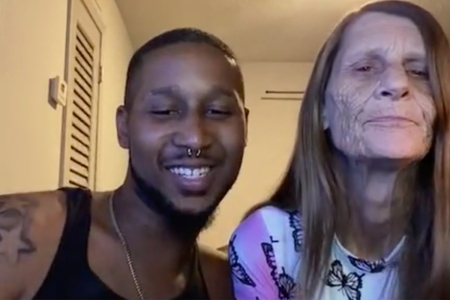 Screenshot from Instagram shows young man with older woman