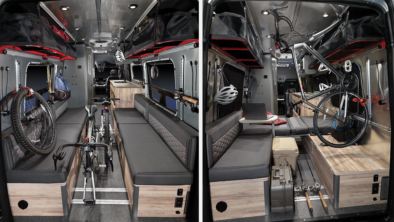 Storage options for the Airstream Interstate 24X adventure van