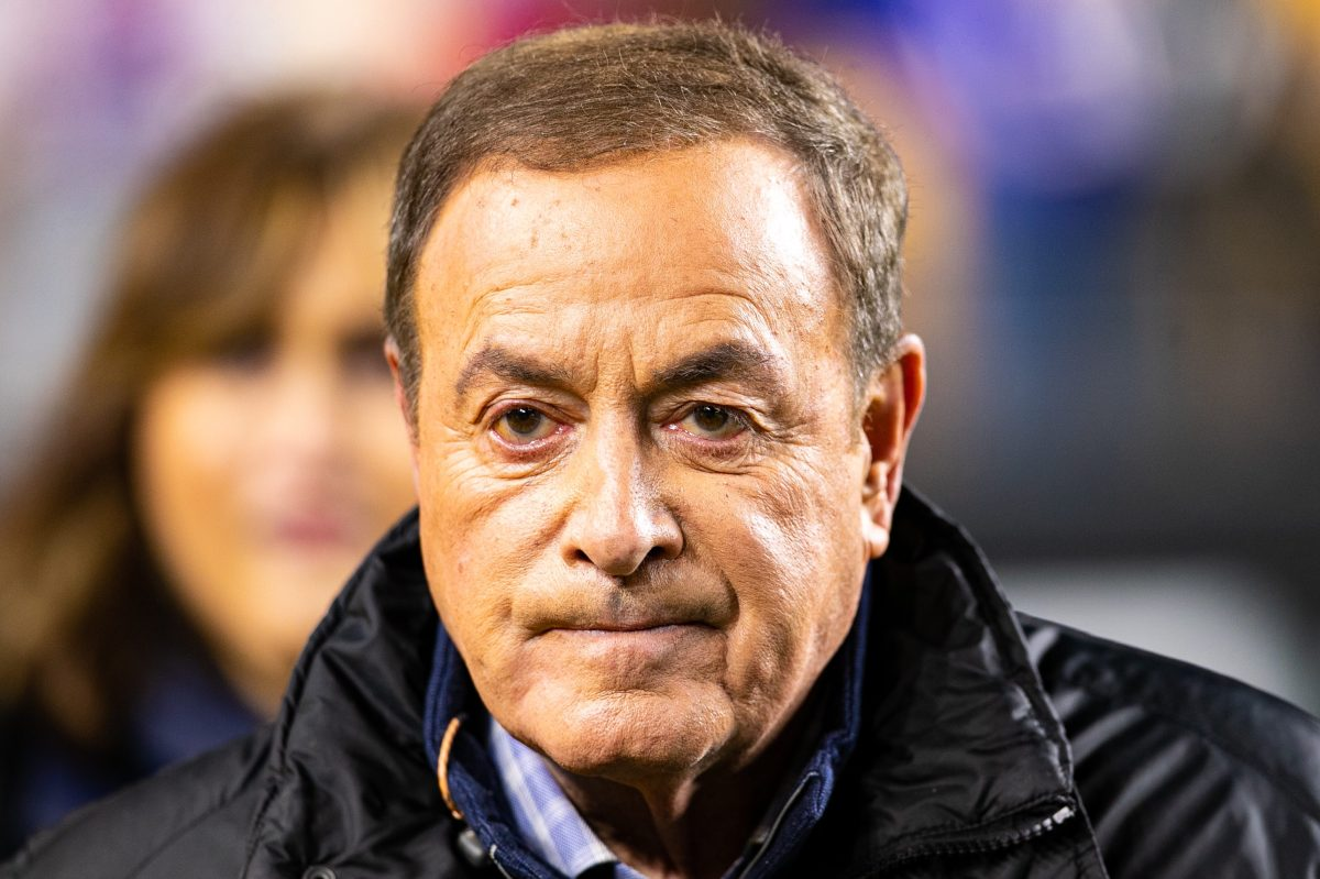 NBC sportscaster Al Michaels at an NFL game
