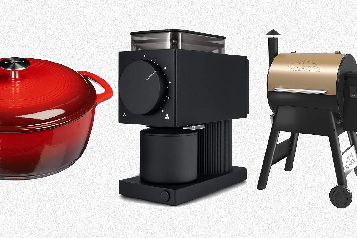 An Amazon Basics Dutch oven, Fellow's Ode brew grinder and a Traeger wood-pellet grill