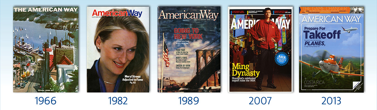 Covers of American Way magazine throughout the years
