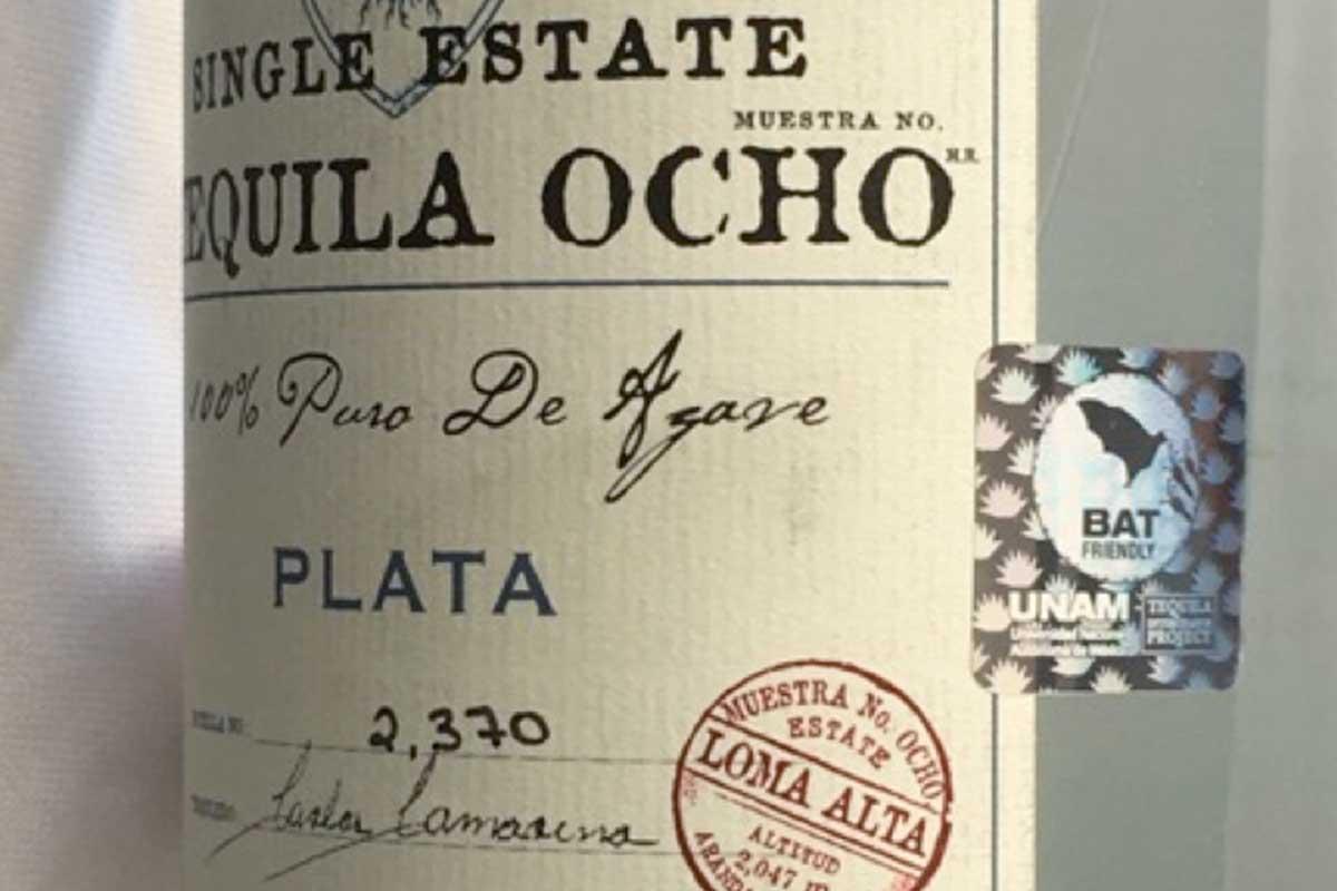 """The """"Bat Friendly"""" label on a bottle of Tequila Ocho"""