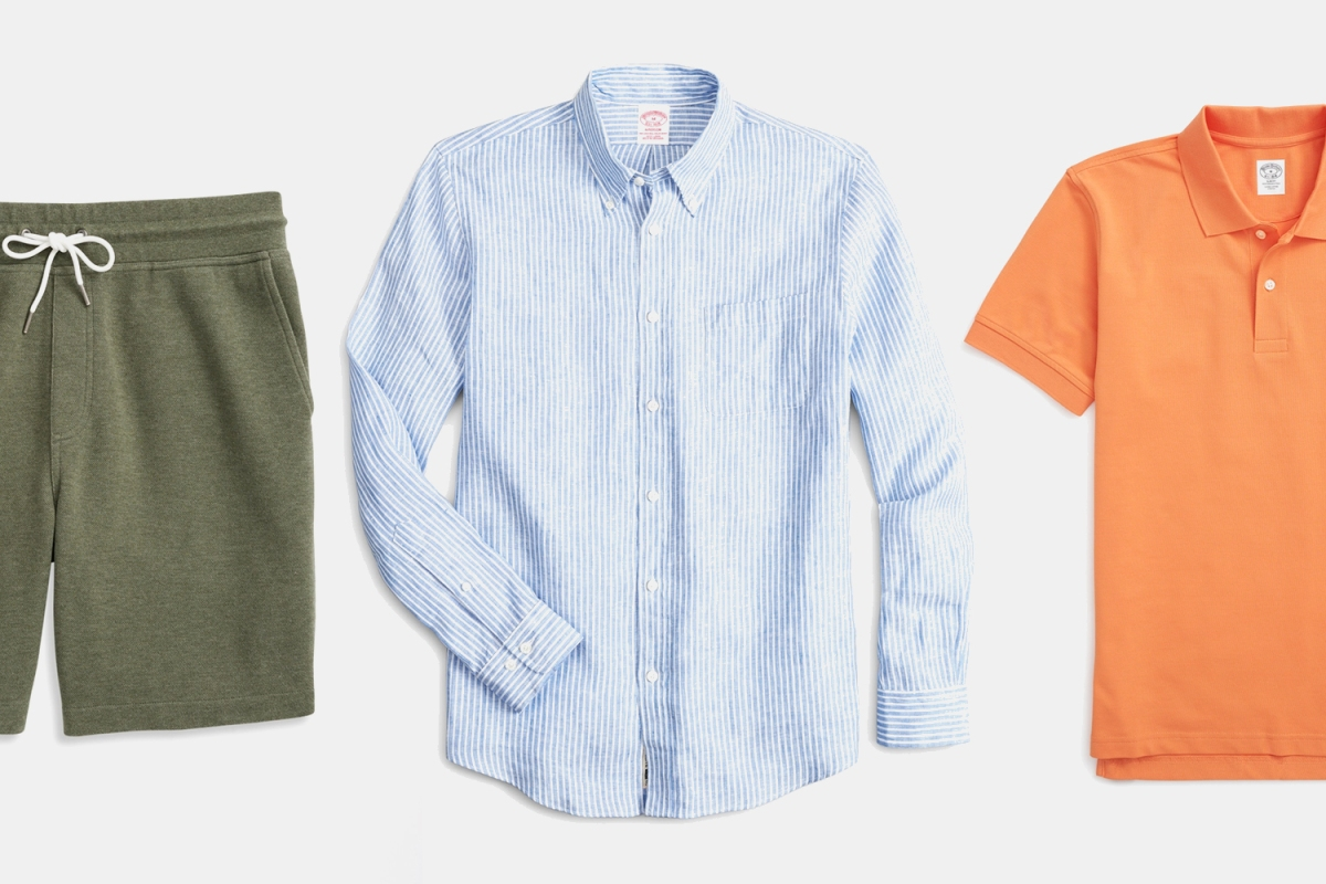 Green drawstring shorts, a blue linen button-down shirt and an orange polo from Brooks Brothers, which is throwing a sitewide sale on menswear