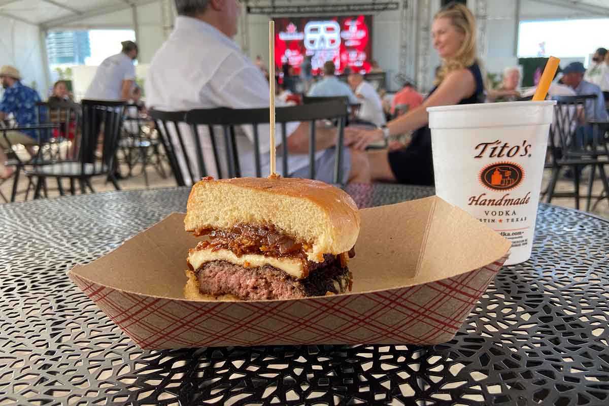 A burger with fried queso at SOBEWFF 2021