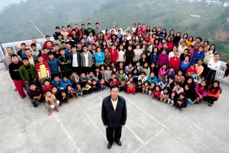 A family photograph of the Ziona family on January 30, 2011 in Baktawang, Mizoram, India.