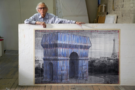 """Artist Christo in his studio with a preparatory drawing for """"L'Arc de Triomphe, Wrapped"""""""