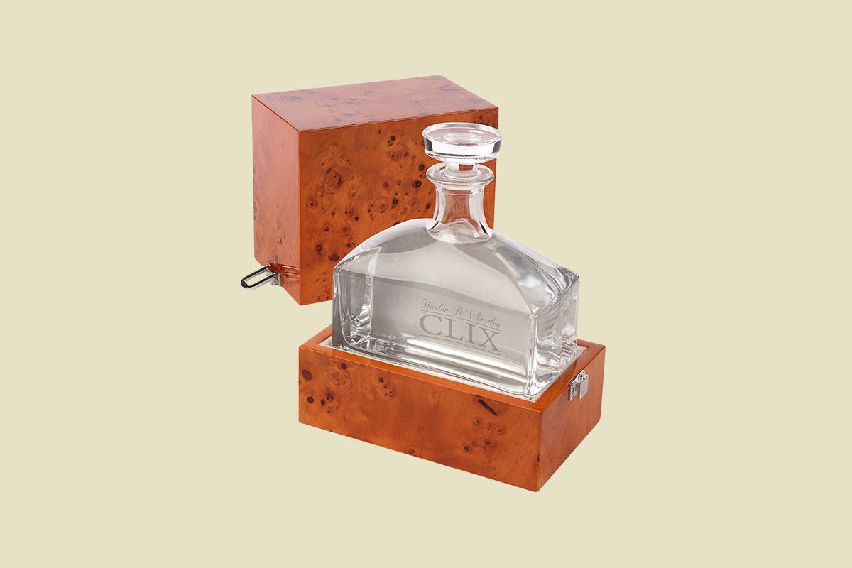 A bottle of Harlen D. Wheatley CLIX vodka in its case