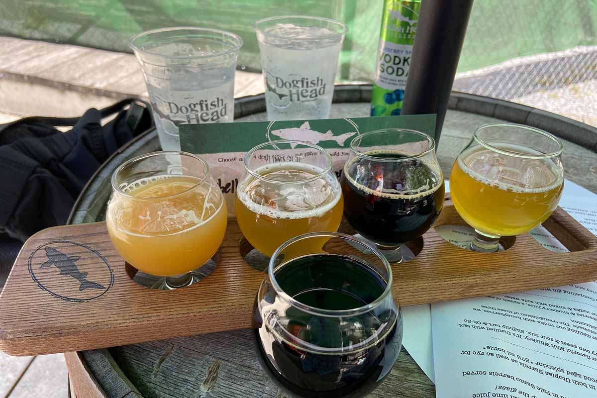 A selection of beers from Dogfish Head's brewery