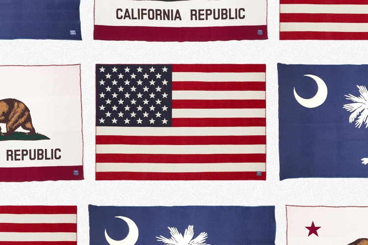 American flag, California state flag and South Carolina state flag blankets made by Faribault Woolen Mill Co. in Faribault, Minnesota