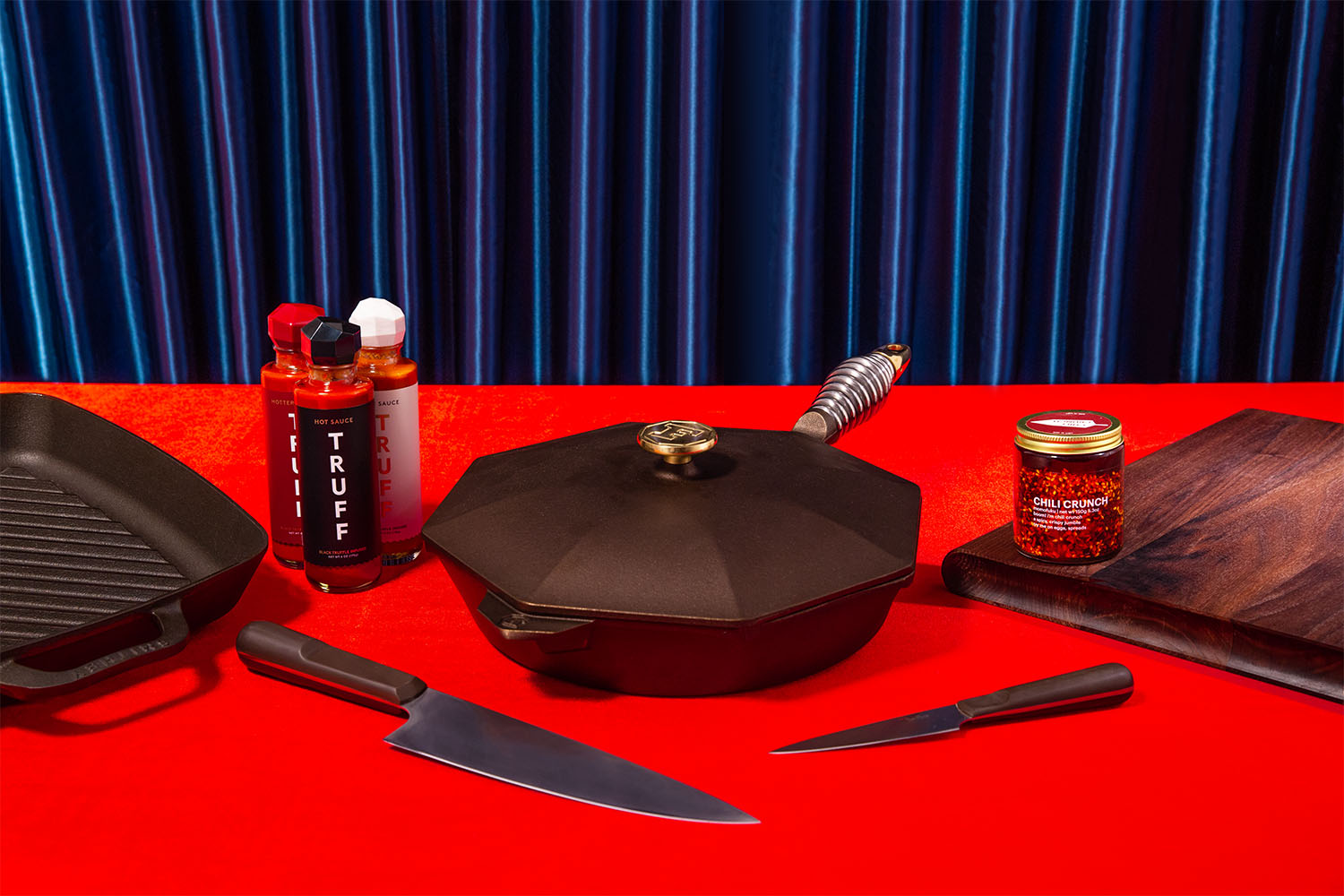 truff hot sauces, chili crisp, cast iron cookware and a knife and cutting board set