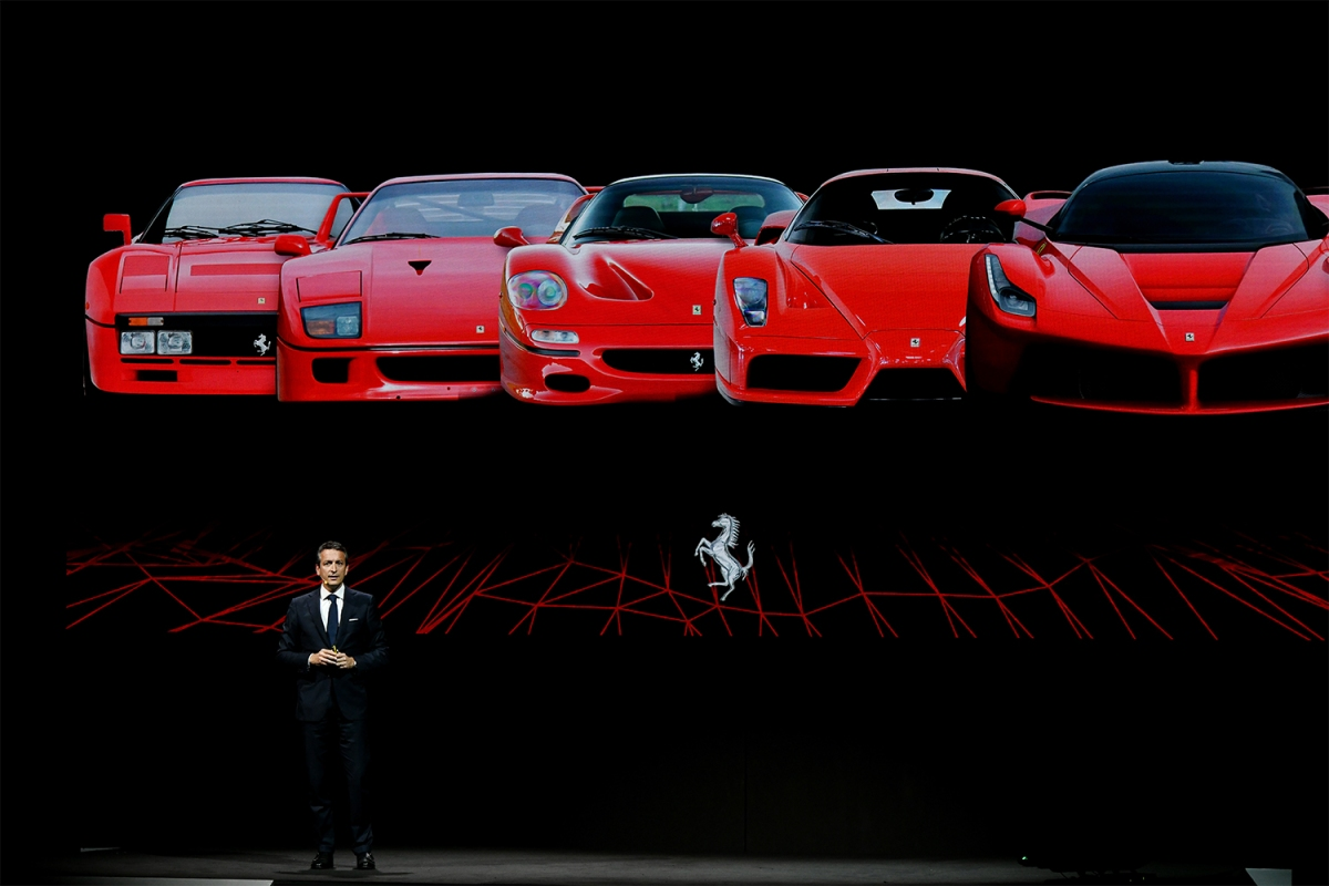 Enrico Galliera, Ferrari's chief marketing and commercial officer, presenting the plug-in hybrid SF90 Stradale